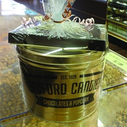 Gift 10 (2 gal. popcorn tin. + 1 lb. choc. assortment)