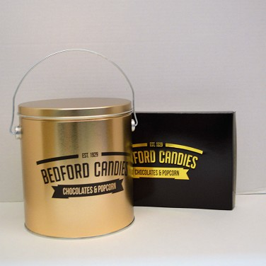 Popcorn Tin and  1 Pound Chocolate Gift Box Set