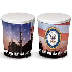 Navy Gourmet Popcorn Tin - 3 Gallon